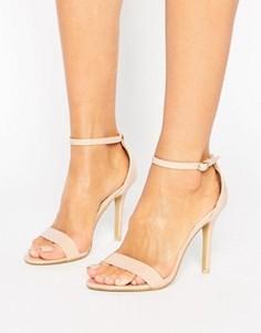 Светло-бежевые лакированные сандалии из двух частей на каблуке Glamorous - Бежевый