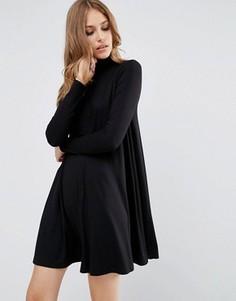 Свободное платье с воротником поло и длинными рукавами ASOS - Черный