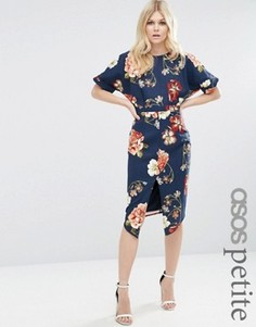 Строгое тканое платье с V-образным вырезом на спине и цветочным принтом ASOS PETITE - Темно-синий