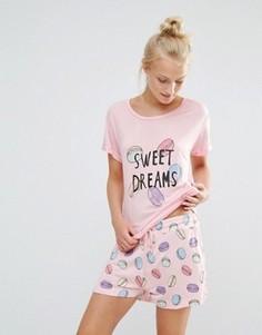 Пижамный комплект с шортами Chelsea Peers Sweets - Розовый