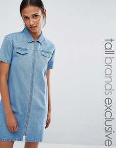 Джинсовое платье мини с молнией спереди Daisy Street Tall - Синий