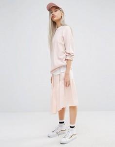 Юбка миди со вставкой и асимметричной кромкой STYLENANDA - Розовый