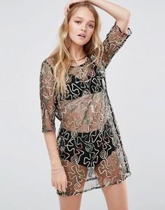 Полупрозрачное платье-футболка с вышивкой Ebonie n Ivory - Черный