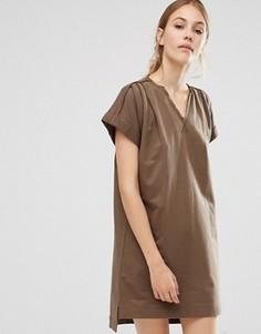 Платье-туника с закатанными рукавами из органического хлопка People Tree - Зеленый