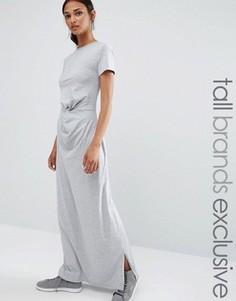 Трикотажное платье макси с узлом спереди Daisy Street Tall - Серый