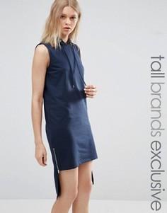 Платье асимметричной длины с капюшоном Noisy May Tall - Темно-синий