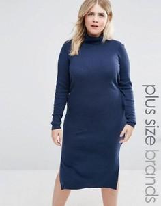 Трикотажное платье с отворачивающимся воротником Junarose - Темно-синий