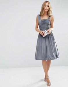 Платье миди со сборками ASOS WEDDING - Серый
