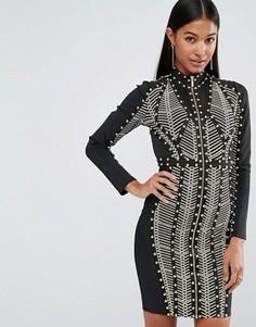 Бандажное платье с длинными рукавами, заклепками и принтом WOW Couture - Мульти