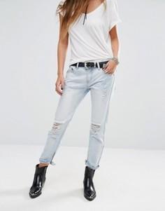 Состаренные джинсы бойфренда с кромками на молнии Lira - Синий