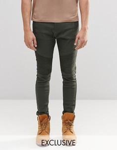 Супероблегающие байкерские джинсы цвета хаки Liquor & Poker - Зеленый