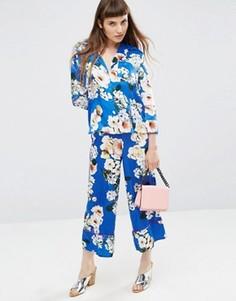 Комбинируемые атласные брюки с широкими штанинами и цветочным принтом ASOS - Мульти