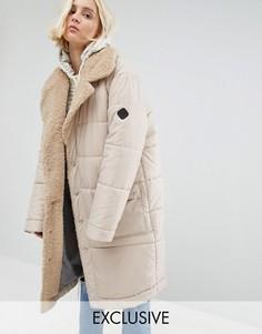 Oversize-пальто с шалевым воротником из искусственного овечьего меха Puffa - Рыжий