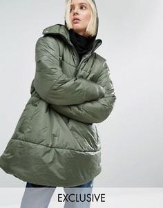 Oversize-куртка через голову с короткой молнией Puffa - Зеленый