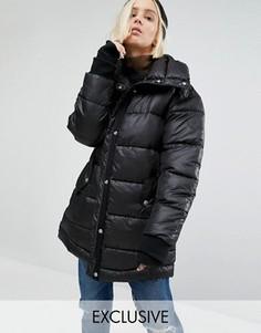 Удлиненная дутая оversize-куртка Puffa - Черный