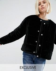 Бархатная дутая оversize-куртка без воротника Puffa - Черный