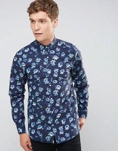 Темно-синяя рубашка суперузкого кроя с цветочным принтом Selected Homme - Синий