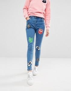 Зауженные джинсы с нашивками Mini Cream - Синий
