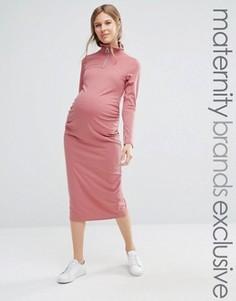 Облегающее платье миди в рубчик для беременных Bluebelle Maternity - Красный