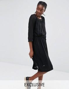 Эксклюзивное платье со складками Monki - Черный