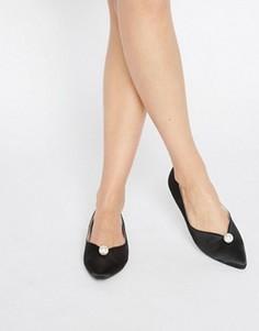 Черные остроносые туфли с искусственным жемчугом Daisy Street - Черный