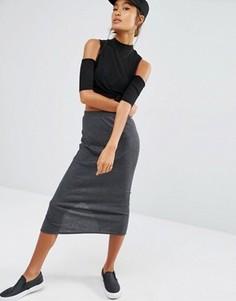 Комбинируемая юбка миди в рубчик Daisy Street - Серый