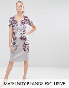 Облегающее платье миди для беременных с зеркальным цветочным принтом Hope & Ivy Maternity - Серый