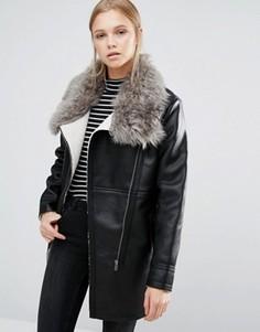 Куртка с меховым воротником First & I - Черный