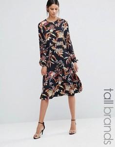 Платье миди с длинными рукавами и принтом листья Y.A.S Tall Lilja - Мульти