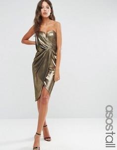 Асимметричное платье миди цвета металлик с запахом ASOS TALL - Золотой