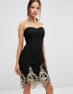 Платье с кружевом по низу Boohoo - Черный