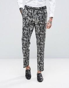 Черно-белые брюки скинни ASOS - Черный