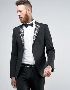 Черный пиджак суперузкого кроя с золотистыми лацканами ASOS - Черный