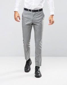 Серые зауженные брюки из 100% шерсти ASOS - Серый