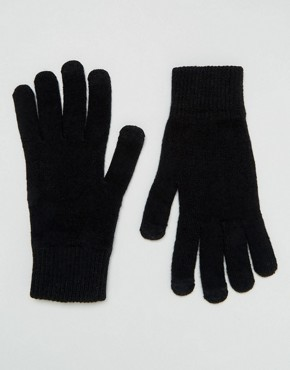 Черные перчатки для сенсорных гаджетов ASOS - Черный