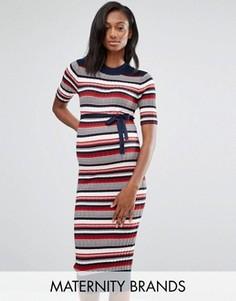 Вязаное платье миди в рубчик для беременных Mamalicious - Мульти Mama.Licious