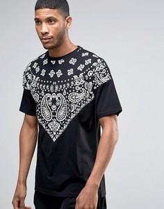 Черная удлиненная oversize‑футболка с платочным принтом ASOS - Черный