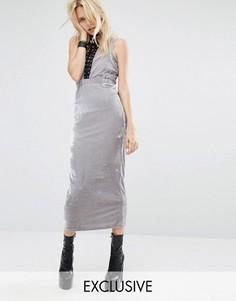 Велюровое облегающее платье макси с вырезами и кружевной отделкой Story Of Lola - Серебряный