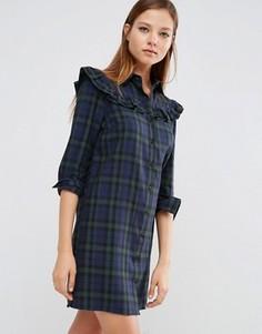 Платье-рубашка в клетку с рюшами ASOS - Мульти