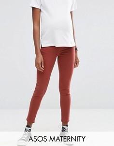 Коричневые зауженные джинсы для беременных с поясом под животом ASOS Maternity Ridley - Коричневый