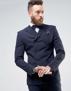 Супероблегающий двубортный пиджак ASOS - Темно-синий