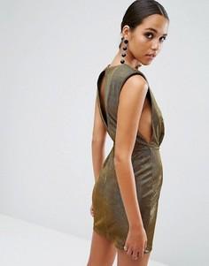 Мини платье цвета металлик с заниженными проймами ASOS NIGHT - Золотой