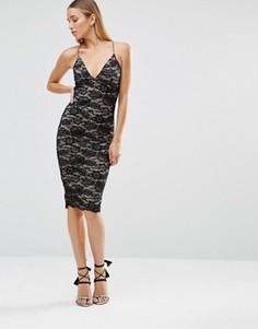 Кружевное облегающее платье миди AX Paris - Черный