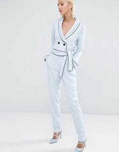Зауженные брюки с завязкой на поясе Lavish Alice - Синий