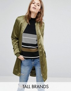 Атласная удлиненная куртка-пилот Vero Moda Tall - Зеленый