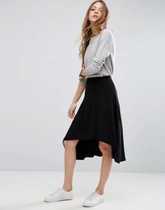 Расклешенная юбка миди асимметричной длины ASOS - Черный