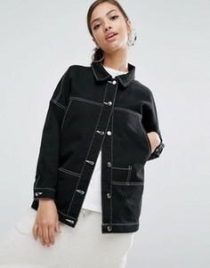 Удлиненная джинсовая куртка с контрастной строчкой Daisy Street - Черный