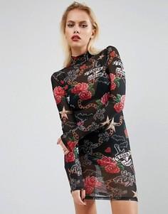 Сетчатое платье с принтом татуировки Jaded London - Черный