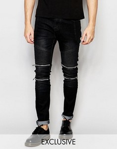 Узкие байкерские джинсы черного цвета Liquor & Poker - Черный