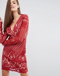 Кружевное платье миди с V-образным вырезом и длинными рукавами Stylestalker - Красный